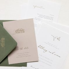 Green, white and gold wedding invitations - The experts at Reeba Rose share the personalisation secrets behind their wedding stationery designs - Handmade Wedding Invitations, Letterpress Wedding Invitations, Wedding Stationery, Indian Wedding Cards, Invitation Suite, Stationery Design, Dream Wedding, Place Card Holders, Rose