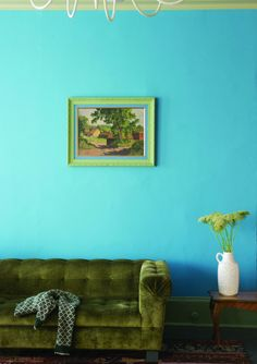 Farrow & Ball, st giles blue no 280 Decor, New Paint Colors, Room, Green Sofa, Blue Rooms, Home, Sofa Styling, House Interior, Farrow Ball
