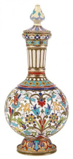 Флаконы для парфюма или масла, Индия. Металл, чеканка, эмали, инкрустация драгоценными камнями.