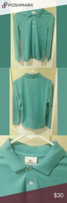🛇Sold!🛇 Laos tell long sleeve polo shirt Long sleeve Teal polo shirt by Lacoste   Size 3, Small   Excellent condition Lacoste Shirts Polos