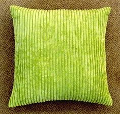 Soft Corded Ribbed Lime Green Cushion