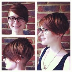 Ladies haircut. Disconnected and asymmetric layering on top. Closely cropped undercut on one side through to the back.