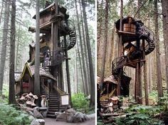 Fantasy forest tree houseA life size fairy tale that is part of the theme park The Enchanted Forest in British columbia treehouses by margret