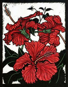 """Yann's Red Hibiscus"" linocut by Rachel Newling. http://rachelnewling.com/ Tags: Linocut, Cut, Print, Linoleum, Lino, Carving, Block, Woodcut, Helen Elstone, Flowers, Plants, Leaves."