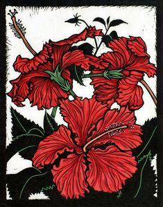 """Yann's Red Hibiscus"" linocut by Rachel Newling. http://rachelnewling.com/ Tags: Linocut, Cut, Print, Linoleum, Lino, Carving, Block, Woodcut, Helen Elstone, Flowers, Plants, Leaves."
