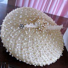 1950's cream white beaded Schiaparelli hat