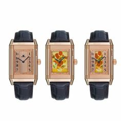 """Jaeger-LeCoultre Reverso à Eclipse Sunflowers watches The Jaeger-LeCoultre Reverso à Eclipse watch is equipped with an """"Open Sesame"""" function that affords the wearer three different, hand-painted views of van Gogh's Sunflowers on the dial."""