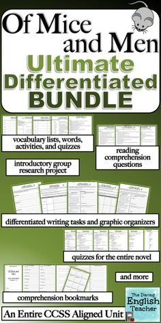 This unit plan includes an introductory activity, vocabulary, reading comprehension questions and quizzes, writing tasks, and Teaching Time, Teaching Resources, Education English, Teaching English, High School English, English Classroom, Quiz, American Literature, Of Mice And Men