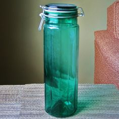 Large Vintage Green Glass Pasta Storage Canister by VintageWolfy, $24.00