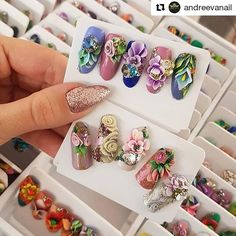 What the nail art cards need to look like (has to be stored in a box with section dividers for each card inside) 3d Acrylic Nails, Acryl Nails, Gel Nail Art, Nail Saloon, Sun Nails, 3d Nail Designs, Mobile Nails, Nail Salon Decor, Vintage Nails
