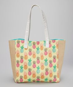 Loving this Caught Ya Lookin' Yellow Pineapples City Tote on Quilted Tote Bags, Patchwork Bags, Backdrop Design, Pineapple, Purses, Yellow, City, Lactose, Bag Patterns