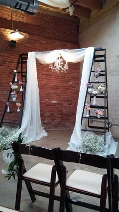 Two Ladders, Middle Bar, and Drapes.  Use at the entrance of the ceremony Rustic Wedding Backdrops, Wedding Venue Decorations, Wedding Decor, Diy Wedding Aisle Runner, Ladder Wedding, Wedding Entrance, Wedding Ceremony, Wedding Shower Games, Wedding Ideas Board