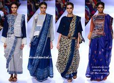 Lakme Fashion Week Winter:Festive the styling of these Lakme Fashion Week, Abaya Fashion, India Fashion, Ethnic Fashion, Saree Wearing Styles, Saree Styles, Cotton Saree Blouse Designs, Blouse Patterns, Indian Dresses