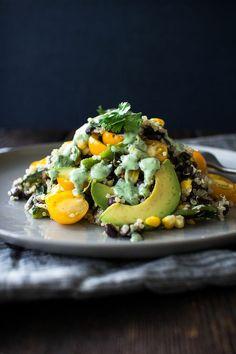 Roasted Corn, Black Bean, Quinoa and Avacado Salad with Cilantro Dressing