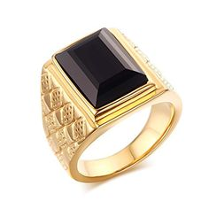 LAMUCH Men's Stainless Steel Domineering Black Agate Diamond Gold Ring