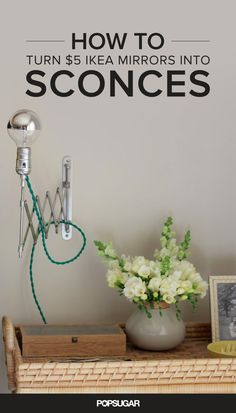 If you've been pining for a pair of accordion sconces, you'll want to head to the bathroom department of Ikea. Turns out, Ikea's Frack mirror ($5) makes the perfect base for a DIY sconce! Inspired by Daniel Kanter's tutorial, I decided to tackle the project myself.