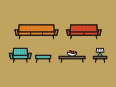 Modern Furniture Icons Modern and Logos
