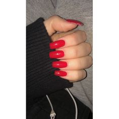 Bright red acrylic nails