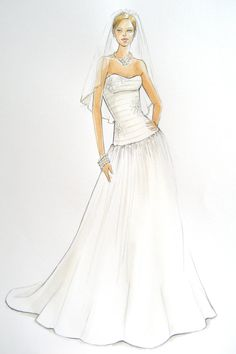 Custom Wedding Gown Fashion Illustration by ForeverYourDress, $150.00