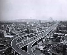 Seoul: Cheonggyecheon elevated highway in downtown Seoul, 1960.