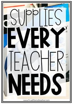 A teacher planner, flair pens, and a laminator are just some of the items you'll want to get as a new teacher. Discover more supplies you'll actually need without breaking the bank. #newteacher #newteachertips #newteacheractivities #newteacherideas #firstyearteacher #firstyearteachermusthaves #newteachersupplies #classroomsupplies Teacher Education, Teacher Tools, Teacher Hacks, Elementary Teacher, Teacher Resources, Elementary Education, Primary Education, Teacher Quotes, Teacher School Supplies