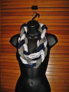 Navy White Gray Infinity Scarf  Dallas by TheLittleBarntique, $14.95