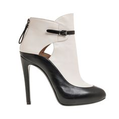 COOL CONTRAST:  SHOES | GIORGIO ARMANI - Black and white calf leather bootie with buckle detail.