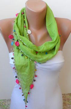 Oya... lace scarf, crochet scarf, Yemeni scarf, Handmade Turkish Scarf-Crochet Oya- cotton scarf / lace scarf - green scarf...woman. $16.50, via Etsy.