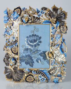 """Jay Strongwater Madison Palm & Flora 5"""" x 7"""" Frame"""
