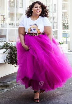 Plus Size Hot Pink 5 Layers Tulle Skirt Summer Maxi Skirts Tutu Pleated Skirt #Unbranded #Maxi