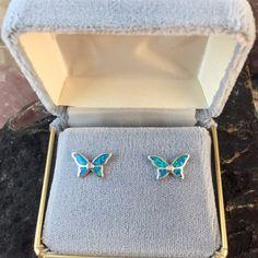 Sterling Silver Opal Butterfly Earrings