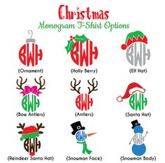 Christmas Designs Monogrammed Shirt Adult by BoutikiMonograms