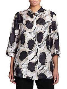 Marina Rinaldi, Sizes 14-24 Silk Printed Top