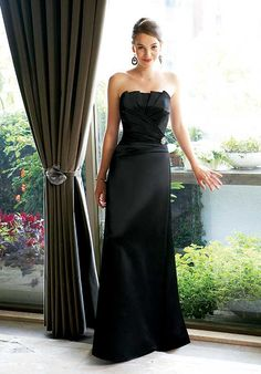 Buy 2013 Sophisticated Black Satin Fashion Strapless Side Drape Beads Working Bridesmaid Dress Online Cheap Prices
