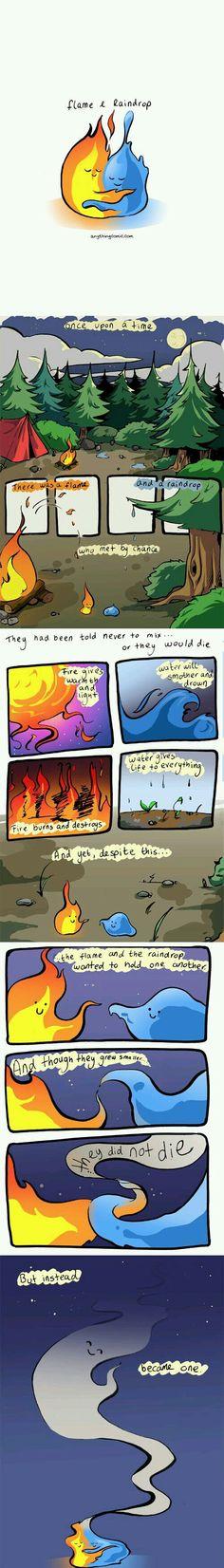 Flame and raindrop