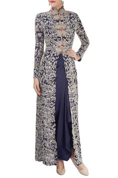 Shop Anamika Khanna - Navy blue top & skirt with long jacket Latest Collection Available at Aza Fashions