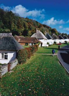 Matching cottages in Milton Abbas  main street.  Dorset