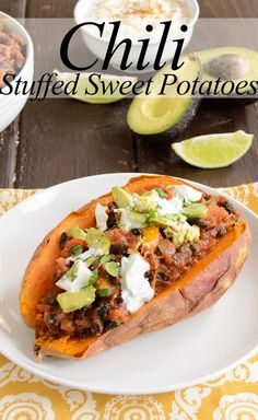Ultimate Chili Stuffed Sweet Potatoes -  never eat chili the same way again! Healthy, low fat, and super filling!