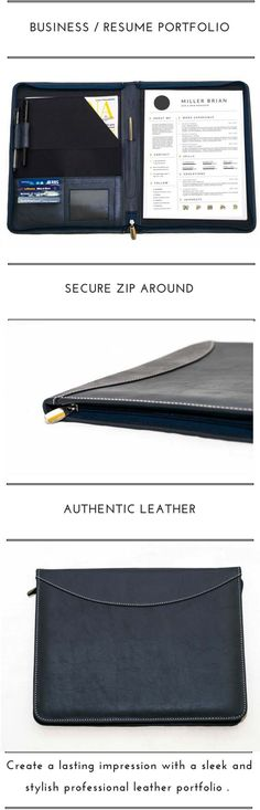 Executive Leather Portfolio for Men, Women, College Students and New Graduates. #Travel organizer, portfolio leather, padholder