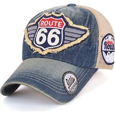 ililily Route 66 Wing Logo Patch Denim Mesh Back Snapback Hat Baseball Cap