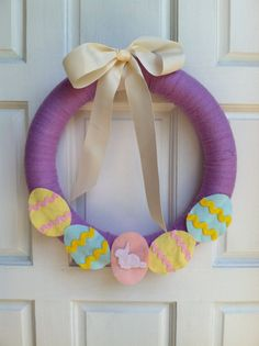 14'' Purple Easter Yarn Wreath with Easter by KatiesKraftKitchen, $30.00