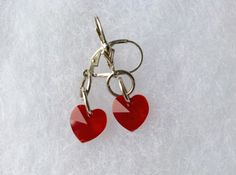 Red Siam Swarovski Crystal Earrings Gift Idea  by kitscreations