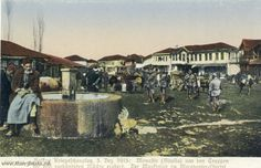 WW1, German Postcard. Macedonian Front, the Wooden Bazaar in Bitola, 1915.
