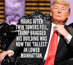 Then accepted $150,000 from a 9/11 Fund. UNPATRIOTIC, UNAMERICAN SCUM - Dump Don the Con Treasonous Trump