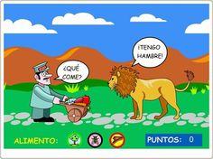 """""""¿Qué come?"""" es un sencillo juego en el que Manolo ha de darle de comer a 6 animales su comida adecuada: carne, vegetales o insectos."""