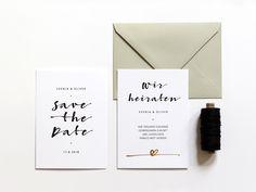 Designserie LOVELETTER  mit Goldprägung, Hochzeitseinladung, Hochzeitspapeterie
