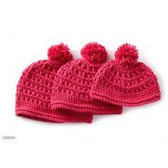 Crochet Me Lovely - Pebbled Texture Hat pattern by Caron Design Team Crochet Kids Hats, Crochet Cap, Crochet Bebe, Free Crochet, Crochet Crowd, Crocheted Hats, Loom Knitting, Knitting Patterns, Crochet Patterns