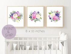 Set of 3 Prints Floral Nursery Art Floral Watercolor Print