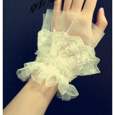 White Lace Crystal Bridal Wedding Wristbands Fingerless Gloves SKU-11201070