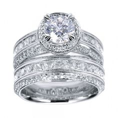 Princess Cut Engagement Rings : Vintage Halo Engagement Ring Setting
